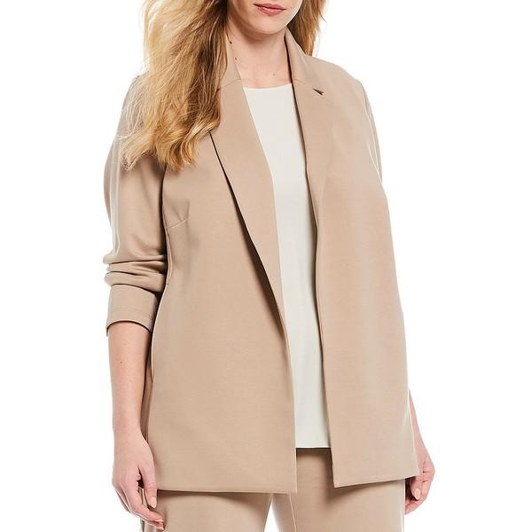 エイリーンフィッシャー レディース ジャケット&ブルゾン アウター Plus Size Flex Tencel Travel Ponte Notch Collar Long Jacket Bramble