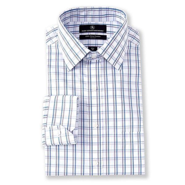 ハートシャファネールマークス メンズ シャツ トップス Non-Iron Classic Fit Spread Collar Checked Dress Shirt Purple Multi
