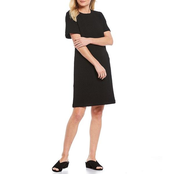 エイリーンフィッシャー レディース ワンピース トップス Petite Size Jacquard Organic Cotton Blend Honeycomb Short Sleeve Stretchy Shift Dress Black