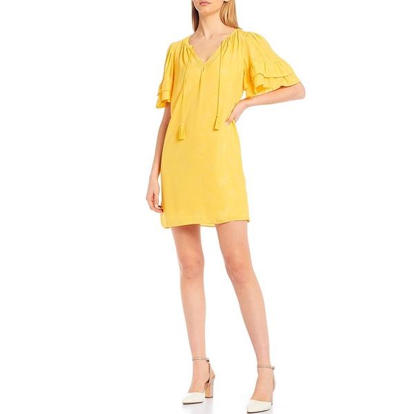 チェルシー&バイオレット レディース ワンピース トップス Jacquard Satin Floral Motif Tiered Ruffle Sleeve Dress Maize