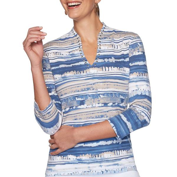 ルビーロード レディース Tシャツ トップス Petite Size Knit Brushy Stripe Embellished V-Neck 3/4 Sleeve Top Lagoon Multi