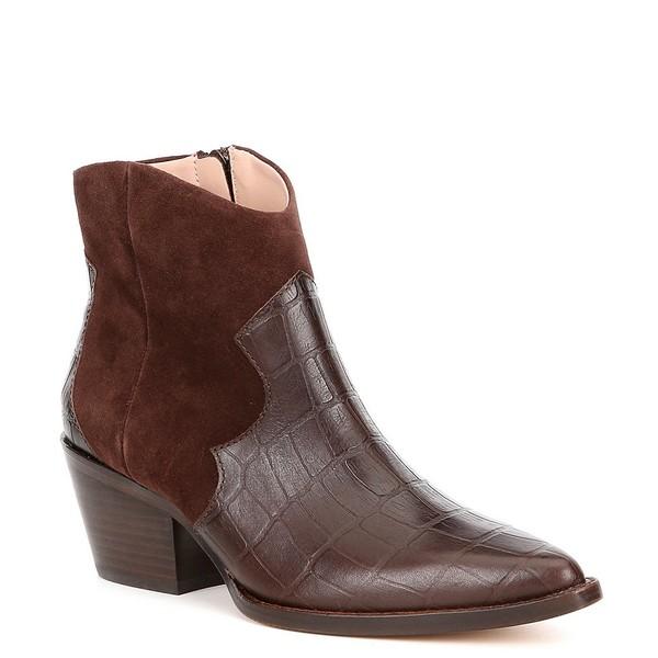 AD&ドーターズ レディース ブーツ&レインブーツ シューズ Brakov Leather Croco Print Block Heel Western Booties Woodchip