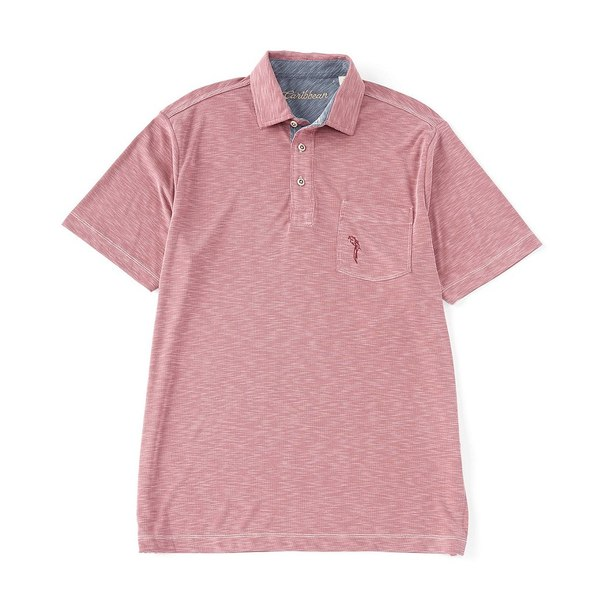 カリビーン メンズ ポロシャツ トップス Textured Solid Knit Short-Sleeve Polo Shirt Berry