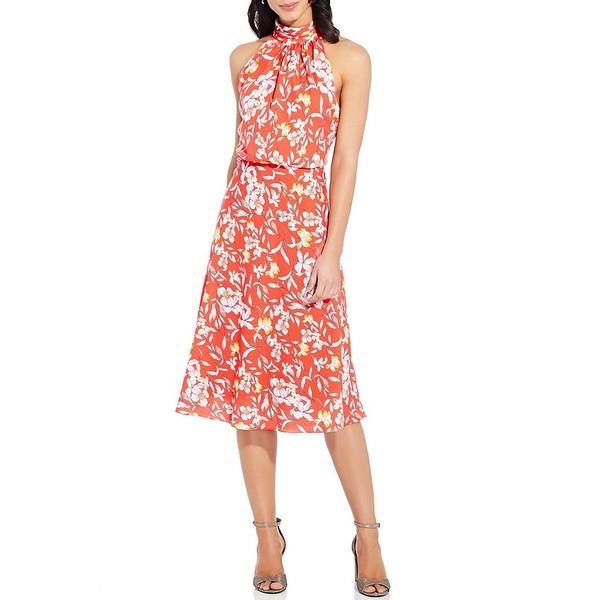 アドリアナ パペル レディース ワンピース トップス Halter Neck Floral Printed Midi Dress Coral Multi