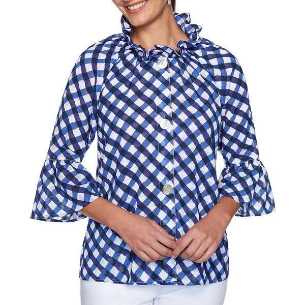 ルビーロード レディース ジャケット&ブルゾン アウター Petite Size Jacquard Brushstroke Gingham Print 3/4 Flounce Sleeve Shirt Jacket Navy Multi