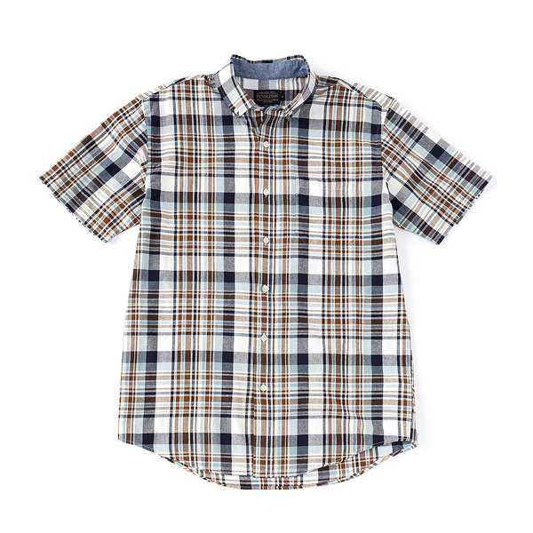 ペンドルトン メンズ シャツ トップス Madras Blue/Brown Plaid Short-Sleeve Woven Shirt Blue/Brown Plaid