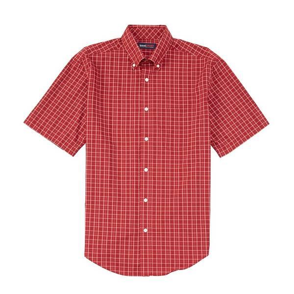 ランドツリーアンドヨーク メンズ シャツ トップス TravelSmart Big & Tall Short-Sleeve Tattersall Sportshirt Cherry