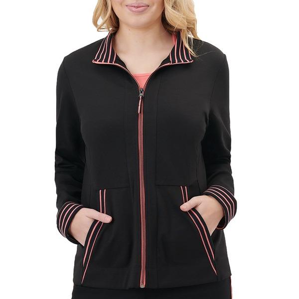 アリソンダーレイ レディース ジャケット&ブルゾン アウター Petite Size San Remo Knit Contrast Trim Zipper Front Cotton Blend Jacket Black