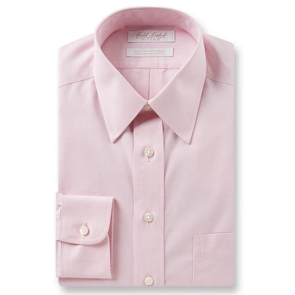 ランドツリーアンドヨーク メンズ シャツ トップス Gold Label Roundtree & Yorke Non-Iron Fitted Point-Collar Solid Dress Shirt Pink