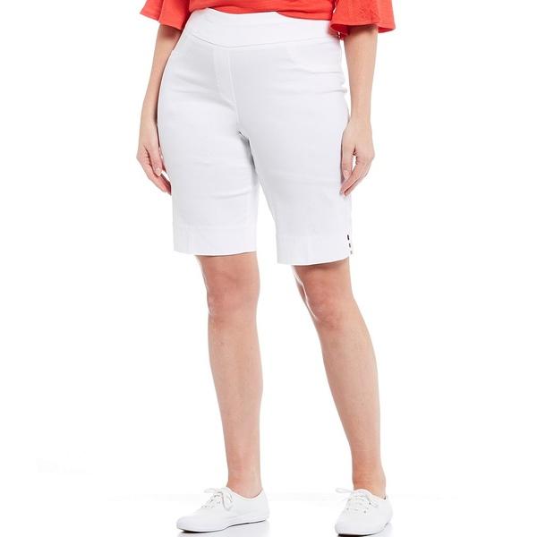 ルビーロード レディース カジュアルパンツ ボトムス Plus Size Luxe Tech Stretch Pull-On Bermuda Shorts White