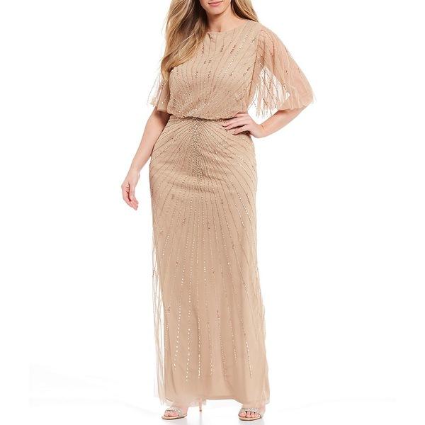 アドリアナ パペル レディース ワンピース トップス Plus Size Beaded Flutter Sleeve Blouson Gown Champagne Gold
