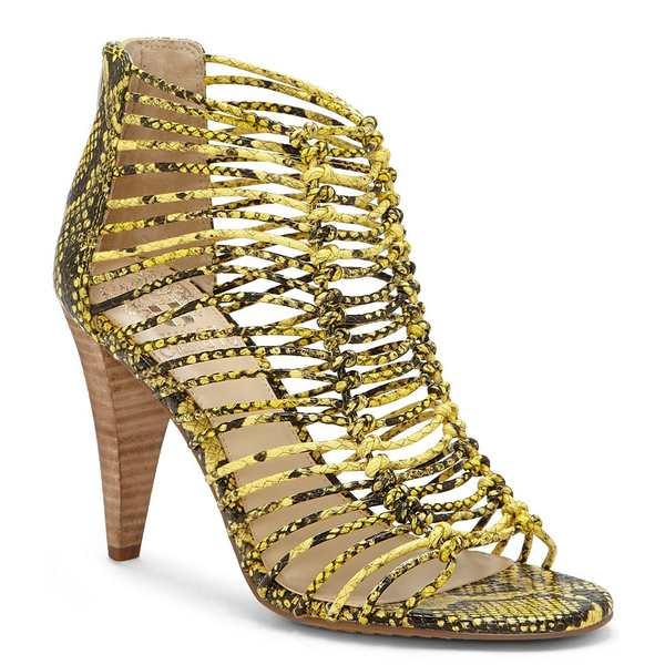 ヴィンスカムート レディース サンダル シューズ Alsandra Caged Snake Print Leather Dress Sandals Yellow Multi