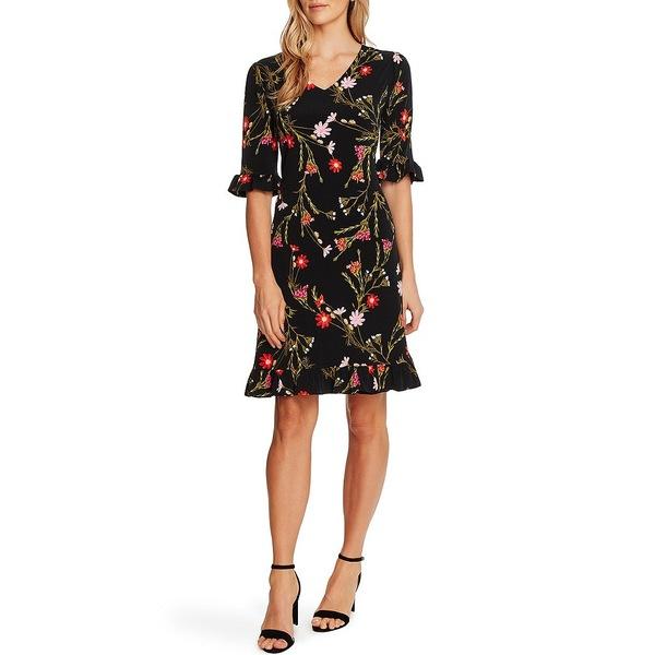 セセ レディース ワンピース トップス Short Sleeve V-Neck Ruffle Floral Shift Dress Rich Black
