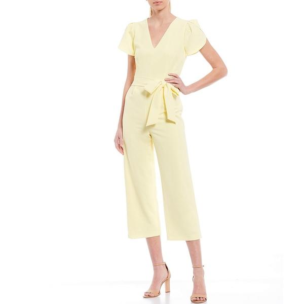 アントニオメラニー レディース ワンピース トップス Ashton Stretch Crepe Deep V-Neck Short Puff Sleeve Tie-Waist Crop Jumpsuit Sunlight