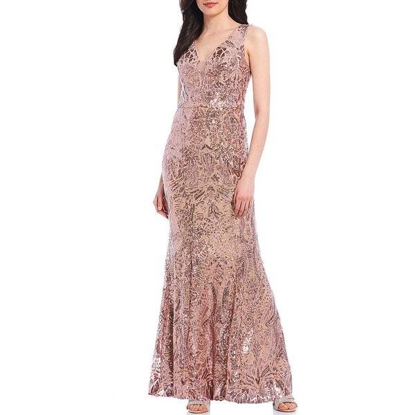 イグナイトイブニングス レディース ワンピース トップス V-Neck Sleeveless Glitter Sequin Gown Rose Gold