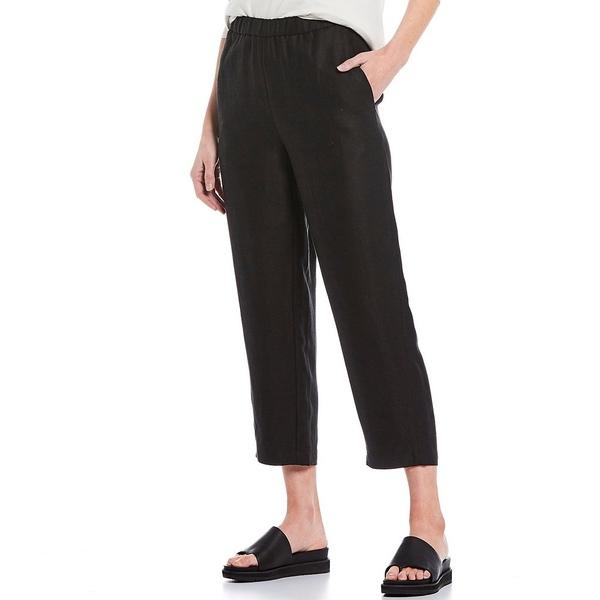 エイリーンフィッシャー レディース カジュアルパンツ ボトムス Petite Size Tencel Organic Linen Blend Slub Easy Cropped Pant Black