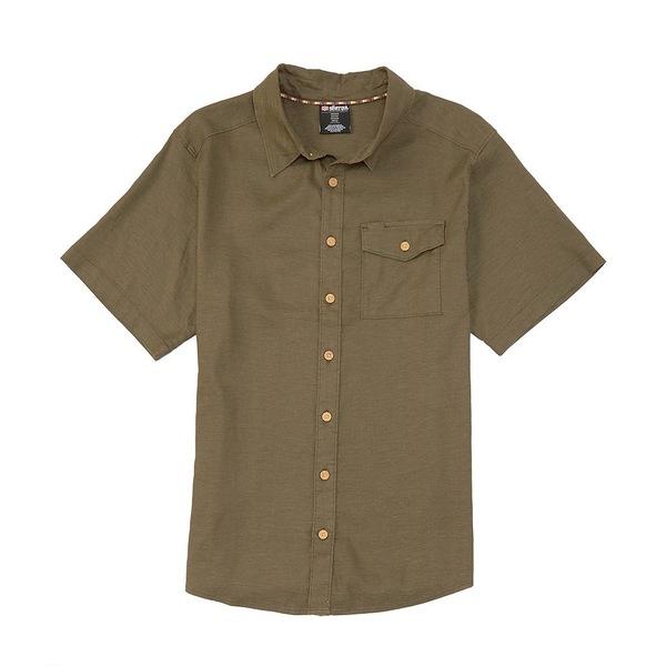 シェルパ メンズ シャツ トップス Sherpa Kiran Solid Stretch Short-Sleeve Woven Shirt Tamur River