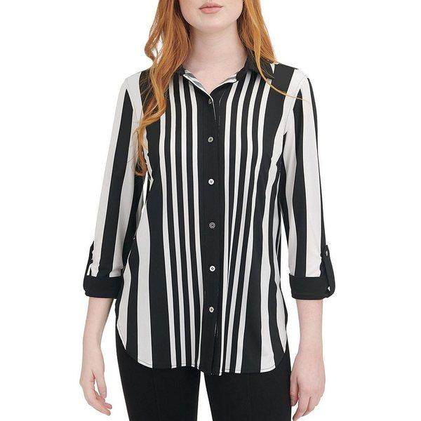 ピーターニガード レディース Tシャツ トップス Knit Chiffon Stripe Roll Cuff Shirt Black/White/Stripe