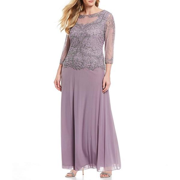 ピサッロナイツ レディース ワンピース トップス Plus Size Beaded Bodice A-Line Gown Lilac