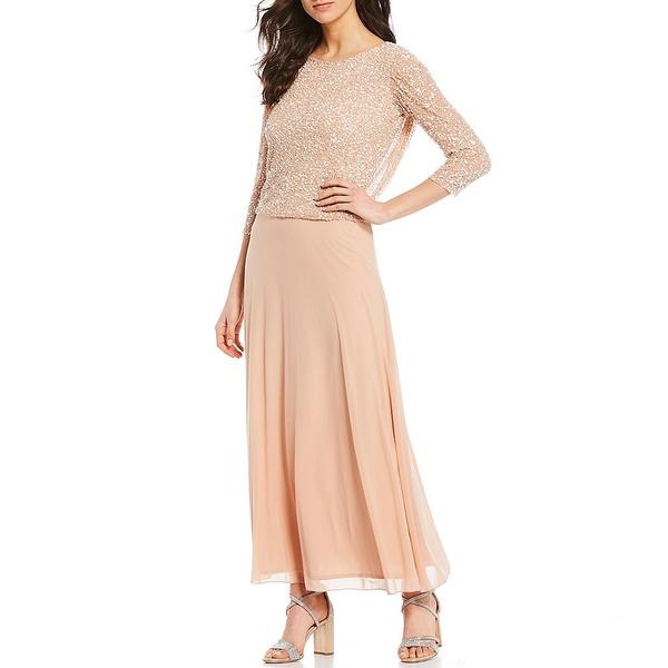 ピサッロナイツ レディース ワンピース トップス Mock Two Piece 3/4 Sleeve Beaded Gown Blush