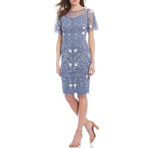 アドリアナ パペル レディース ワンピース トップス Beaded Illusion Flutter Sleeve Sheath Dress Cool Wisteria