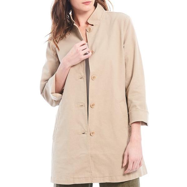 エイリーンフィッシャー レディース ジャケット&ブルゾン アウター Organic Stretch Cotton Hemp Blend Canvas Stand Collar Button Front Shirt Jacket Khaki