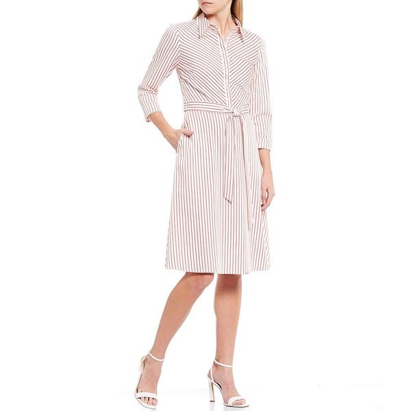 クレミュ レディース ワンピース トップス Artemis Striped 3/4 Sleeve Tie Waist Shirt Dress Ivory/Cherry