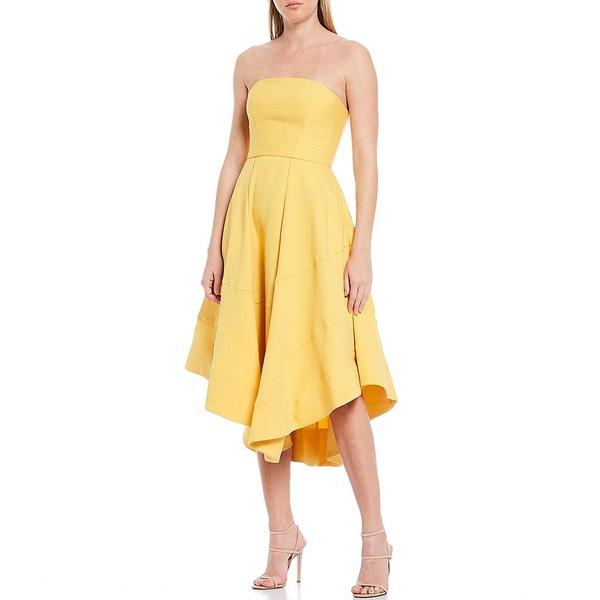 カメオ レディース ワンピース トップス Beyond Control Asymmetrical Strapless Midi A-Line Dress Gold