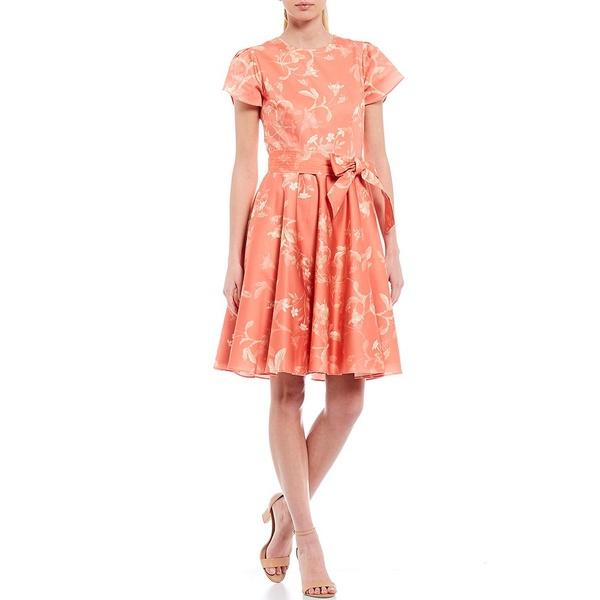 アントニオメラニー レディース ワンピース トップス Sofia Floral Print Stretch Cotton Bow Detail Short Sleeve Dress Clementine/Vanilla