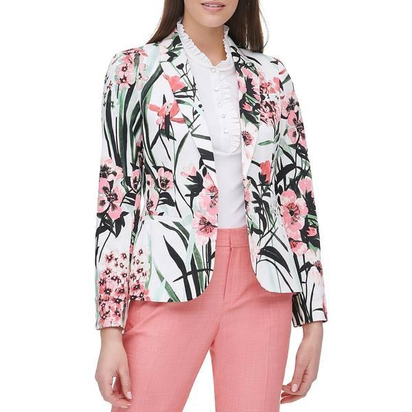 トミー ヒルフィガー レディース ジャケット&ブルゾン アウター Garden Floral Print Stretch Cotton One-Button Jacket Ivory/Coralie Multi