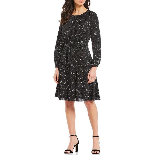 ダナキャラン レディース ワンピース トップス New York Constellation Print Long Sleeve Tie Waist Dress Black Multi