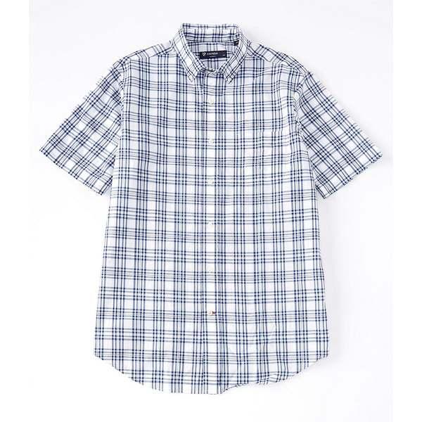 クレミュ メンズ シャツ トップス Short-Sleeve Plaid Poplin Woven Shirt Mazarine Blue