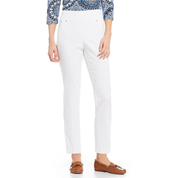 ルビーロード レディース カジュアルパンツ ボトムス Extra Stretch Denim Straight Leg Ankle Pull-On Pants White