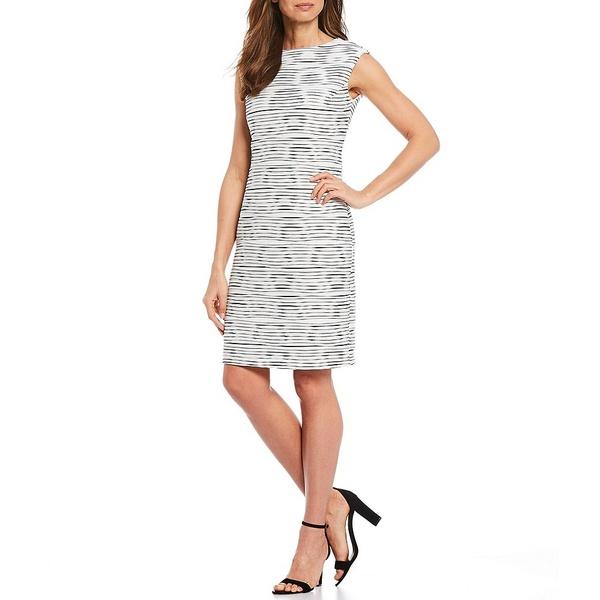 アイシーコレクション レディース ワンピース トップス Sleeveless Stretch Stripe Sheath Dress White