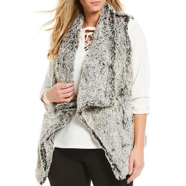 デモクラシー レディース ジャケット&ブルゾン アウター Plus Size Cascade Open Front Faux Fur Sleeveless Vest Taupe/Grey