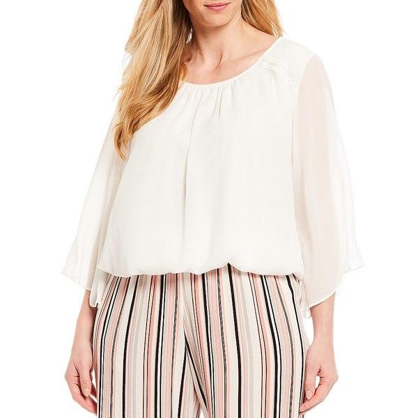 アイエヌスタジオ レディース シャツ トップス Plus Size Scoop Neck Lace Shoulder Detail Angel Illusion Sleeve Smocked Hem Top Off White