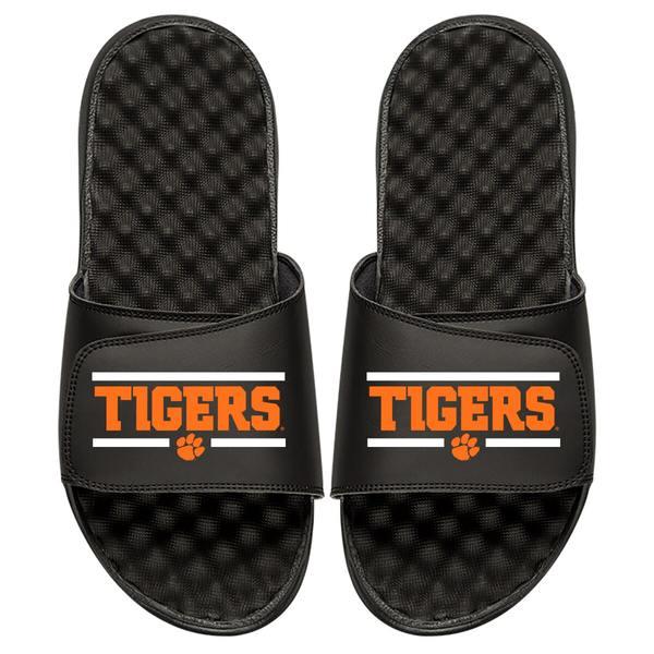 アイスライド メンズ サンダル シューズ Clemson Tigers ISlide Football Bar Logo Slide Sandals Black