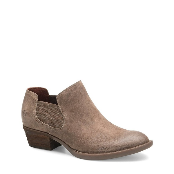 ボーン レディース ブーツ&レインブーツ シューズ Dallia Chelsea Distressed Suede Block Heel Shooties Taupe