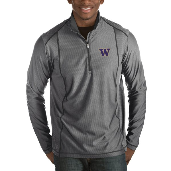 アンティグア メンズ ジャケット&ブルゾン アウター Washington Huskies Antigua Tempo HalfZip Pullover Big & Tall Jacket Black