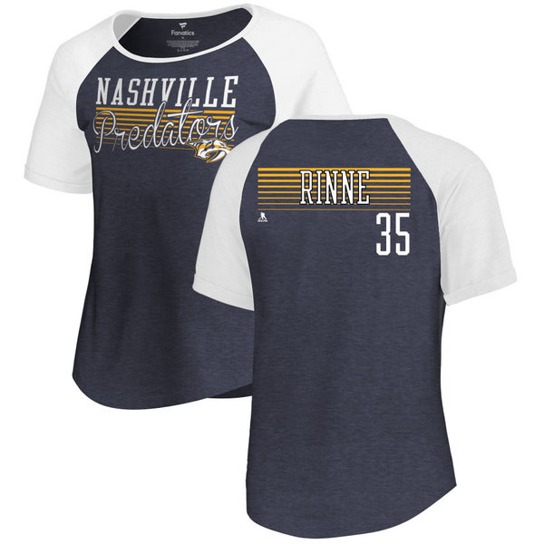 ファナティクス レディース Tシャツ トップス Nashville Predators Fanatics Branded Women's Personalized Assist Triblend TShirt Navy