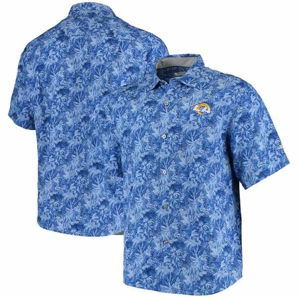 トッミーバハマ メンズ シャツ トップス Los Angeles Rams Tommy Bahama Sport Jungle Shade Camp ButtonDown Shirt Royal