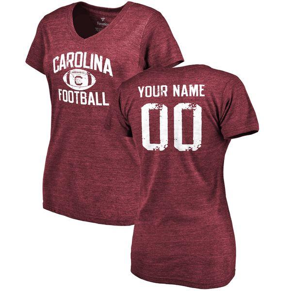 ファナティクス レディース Tシャツ トップス South Carolina Gamecocks Fanatics Branded Women's Distressed Personalized Football TriBlend TShirt Maroon