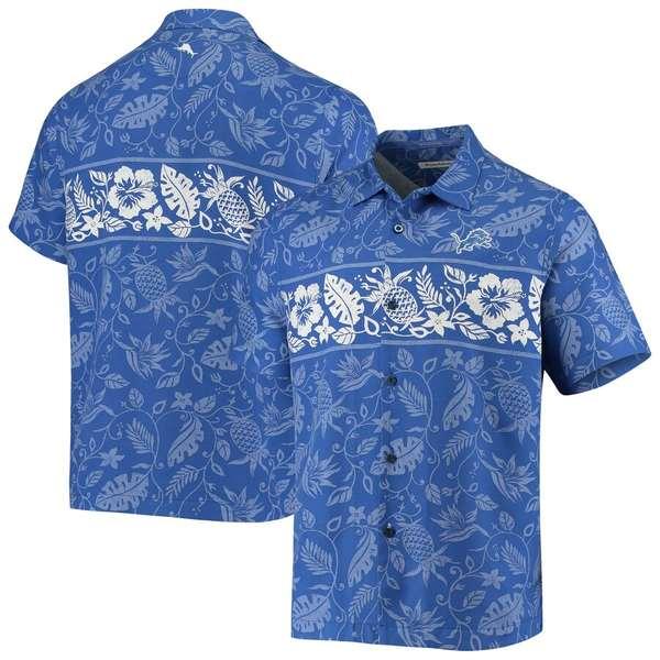 トッミーバハマ メンズ シャツ トップス Detroit Lions Tommy Bahama Pina Plazzo Silk Camp Shirt Blue
