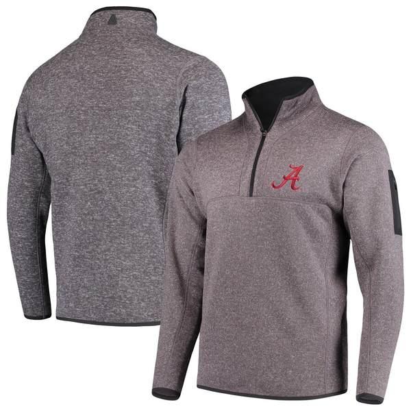 アンティグア メンズ ジャケット&ブルゾン アウター Alabama Crimson Tide Antigua Fortune 1/2-Zip Pullover Sweater Heathered Charcoal