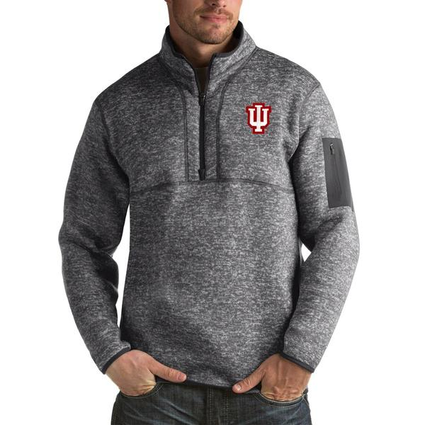 アンティグア メンズ ジャケット&ブルゾン アウター Indiana Hoosiers Antigua Fortune Big & Tall Quarter-Zip Pullover Jacket Charcoal