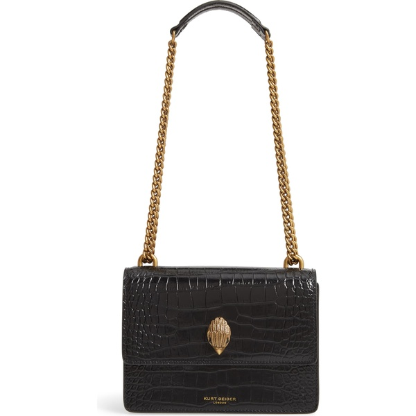 カートジェイガーロンドン レディース ハンドバッグ バッグ Kurt Geiger London Shoreditch Crocodile Embossed Leather Crossbody Bag Black