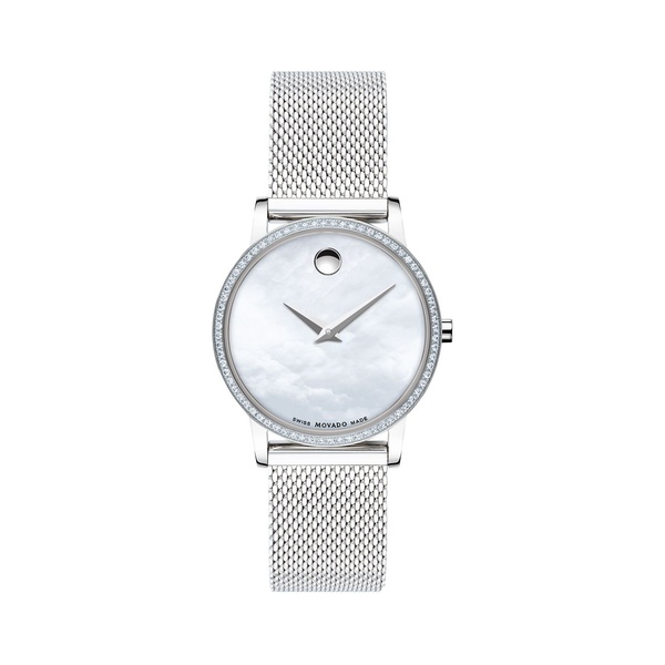 モバド レディース 腕時計 アクセサリー Pavé Diamond Stainless Steel Mesh Bracelet Watch Silver