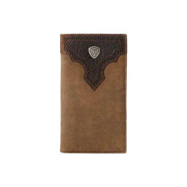 アリアト メンズ 財布 アクセサリー Ariat Shield Perforated Overlay Rodeo Wallet Medium Distressed Brown