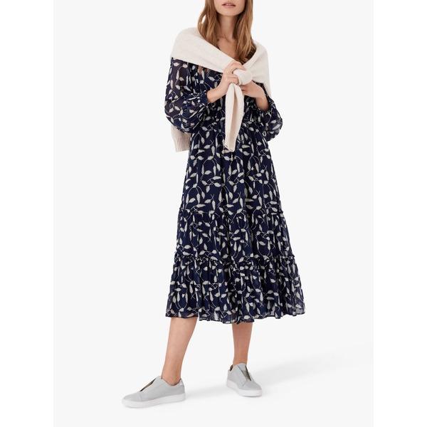 【25%OFF】 ブロラ レディース ワンピース トップス Brora Leaf Silk Midi Dress, Navy -, 雄勝町 0f42571b