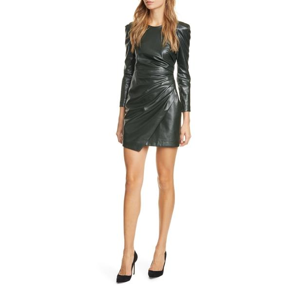 エーエルシー レディース ワンピース トップス Lana Long Sleeve Leather Minidress Evergreen